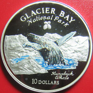 1997-COOK-ISLANDS-10-SILVER-PROOF-HUMPBACK-WHALE-GLACIER-BAY-NATIONAL-PARK-RARE