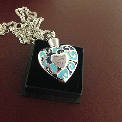 """Memorial Cremation Jewellery/Pendant/Urn/Keepsake for Ashes-""""Always in my Heart"""""""