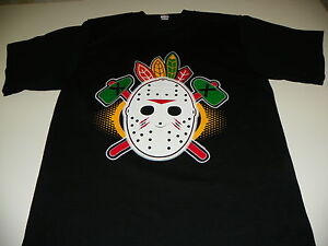 Chicago blackhawks old school vintage hockey mask shirt for Vintage blackhawks t shirt