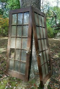 Antique vintage french glass double doors solid 15 panels for 15 panel glass french door