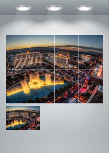 Las Vegas Bellagio Fountains Beautiful Landscape Large Wall Art Poster Print