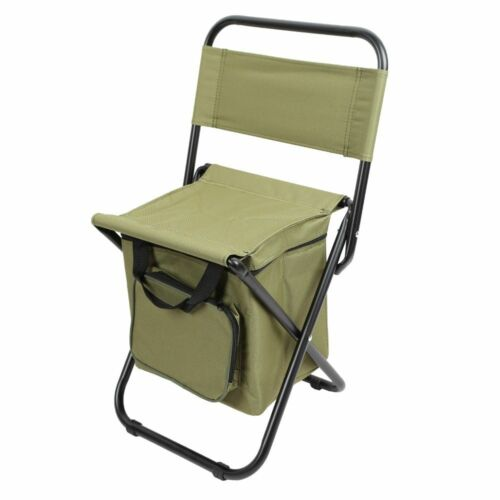 Backrest Fishing Chair PVC Water Resistant Portable Folding With Ice Thermos Bag