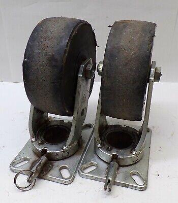 """Lot Of 2 Heavy Duty Locking Swivel Caster Wheels 5"""" x 1 1//8"""" #04H82"""