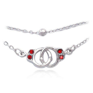 Image Is Loading Red Crystal Handcuffs Charm Bracelet Bead Link Double