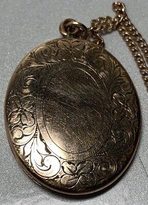 12k Rose Gold Engraved B Photo Locket