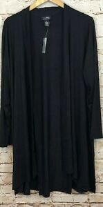 Catherines-Anywear-black-cardigan-open-front-womens-2X-new-cascade-long-slv-AB