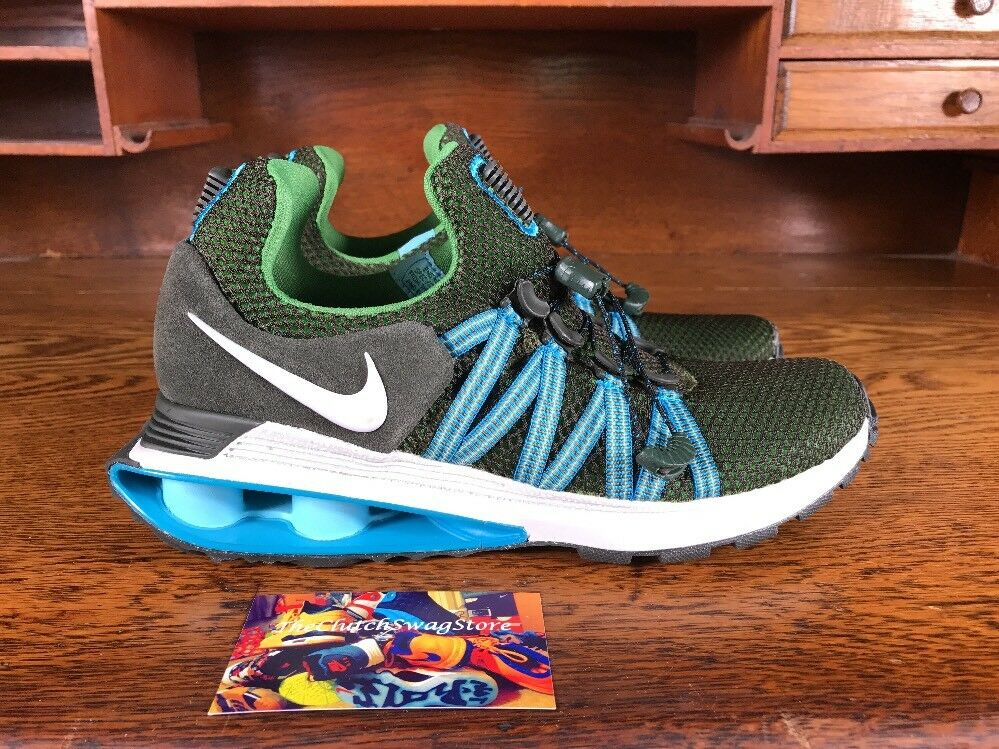 Nike Shox Gravity Mens Running Shoes Green/White/Blue AR1999-300 Size 6