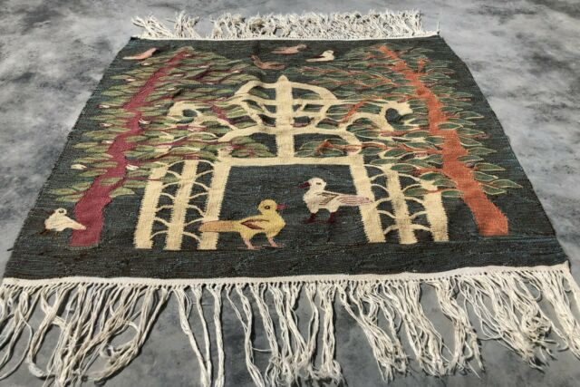 Authentic Hand Knotted Vintage France Pictorial Wool Kilim kilm Area Rug 3 x 3