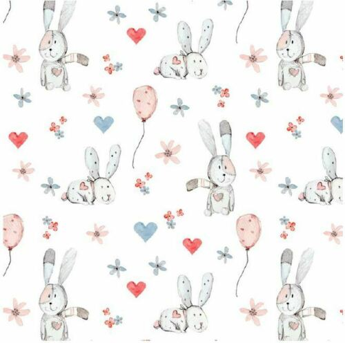 "Pastel Bunnies Rabbits Hearts Baby Novelty 100/% Cotton Fabric Craft 60/"" Sewing"