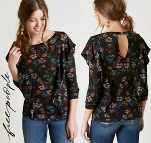 New-Free-People-Medium-Dock-Street-Ruffle-Floral-Top-Shirt-Blouse-Black-NWT-68