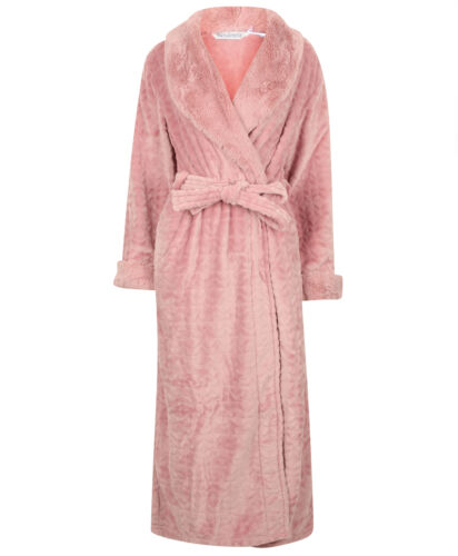 Dressing Gown Ladies Bathrobe Faux Fur Shawl Collar Wrap Bathrobe Slenderella