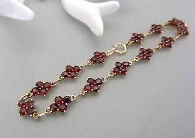 Vintage Granat-blüten Armband 18cm 333er 8kt Gelbgold Garnet Bracelet Belebende Durchblutung Und Schmerzen Stoppen Armbänder