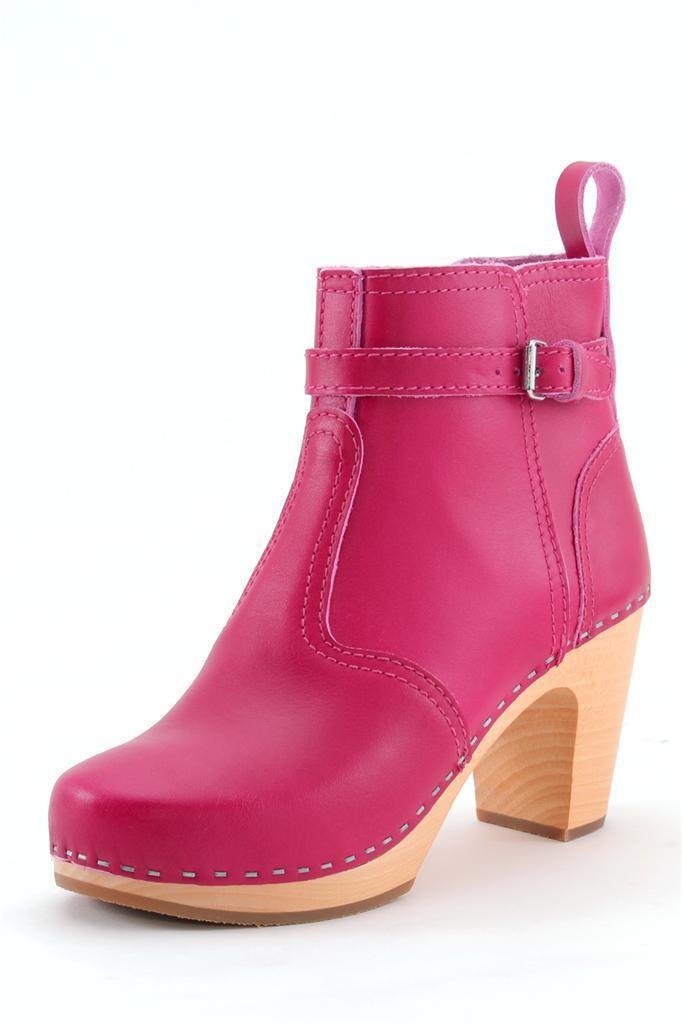 Swedish Hasbeens Jodhpur Bota Color de rosadodo caliente en el el el tobillo Bota Oscuro Plataforma De Madera tirar de  precio mas barato