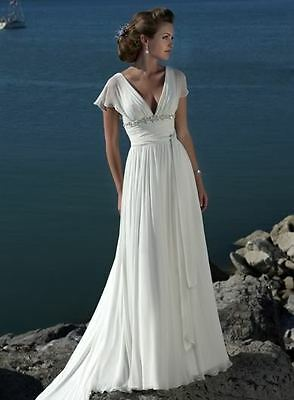 New Elegant Short Sleeve Beach Wedding Dresses Beaded V-neck Chiffon Bridal Gown