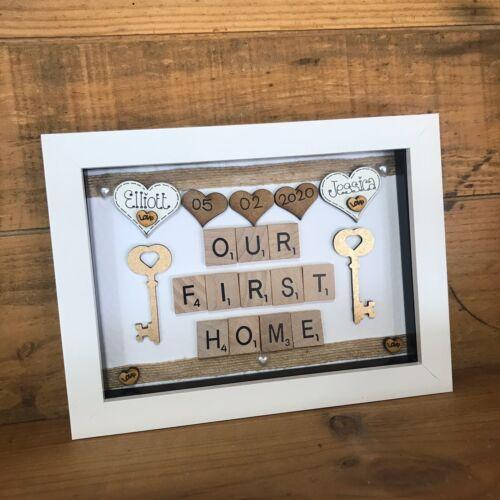 Moldura De Caixa Personalizado Casa Nova primeiro lar Scrabble Amor presente de aquecimento de casa
