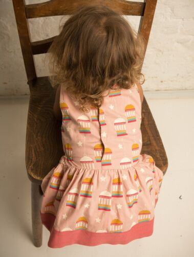 Little Green Radicals Golden Bird Cage gathered Dress Organic Cotton 0 3 6 9 LGR