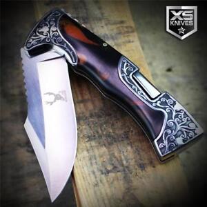 COWBOY-Western-Ornate-Bolster-Lockback-Folding-Pocket-Knife-Horse-Back-Rodeo-9-034