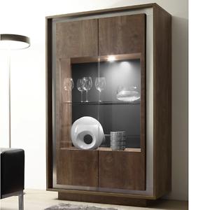 Dettagli su Vetrina mobile ingresso parete soggiorno Sky moderno salotto  con frontale cognac