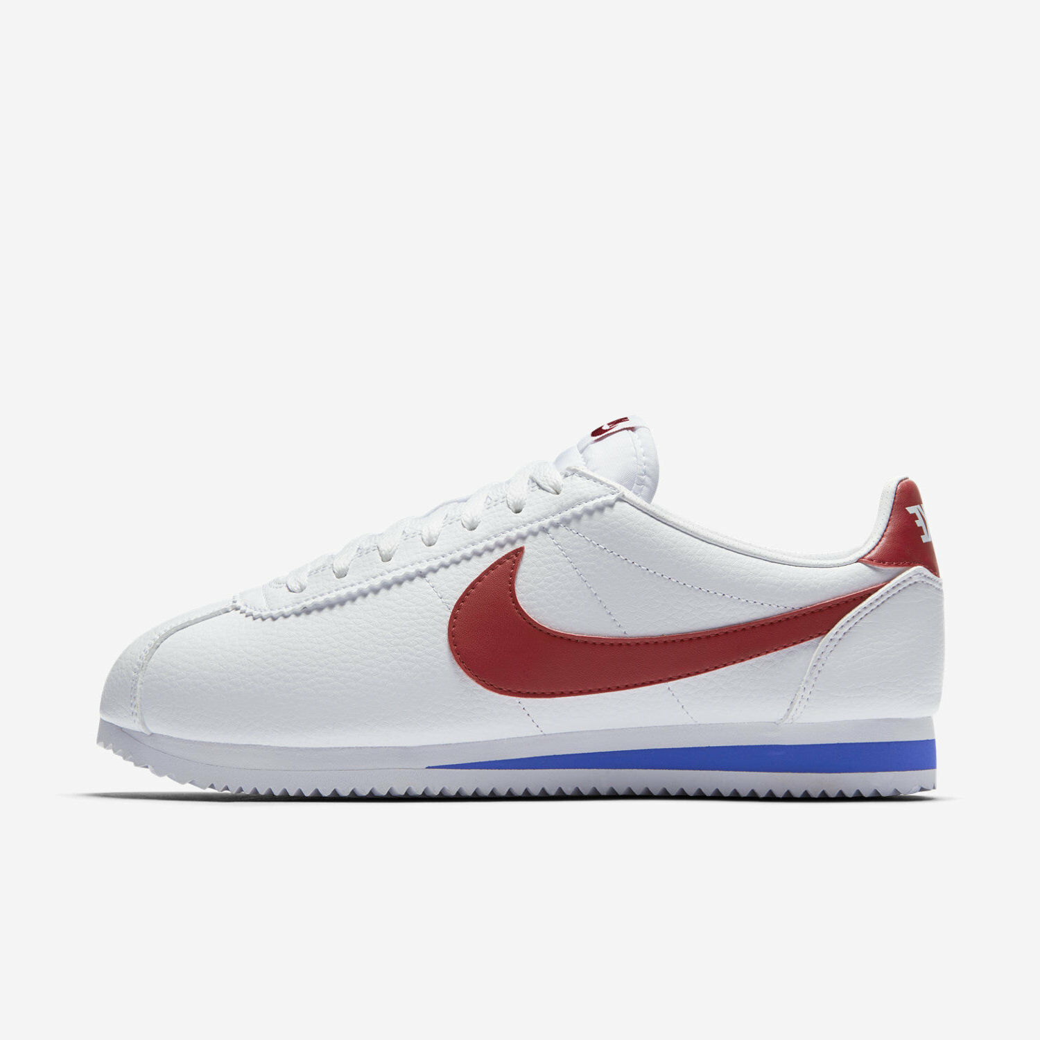 Comfortable and good-looking NIKE CLASSIC CORTEZ LEATHER FORREST GUMP 749571-154 WHITE VARSITY ROYAL RED BLUE