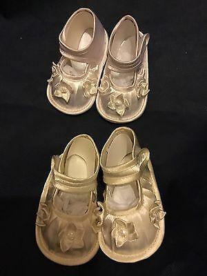 Bautizo Zapatos Bebé Niñas Bebés Marfil Blanco Satinado Flores Brillantes 0-12 MTH
