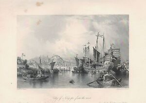 1843-ANTIQUE-PRINT-ALLOM-CHINA-CITY-OF-NING-PO-FROM-THE-RIVER