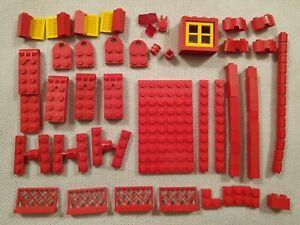 Pacote-misto-de-blocos-LEGO-Vintage-Vermelho-E-Pecas-acopladores-trombadinha-Saloon-Decada-De-1970