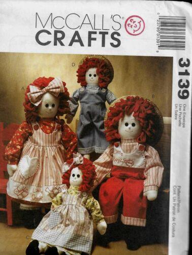 McCalls 3139 OOP Raggedy Boy /& Girl Dolls 2001 Pattern Reduced