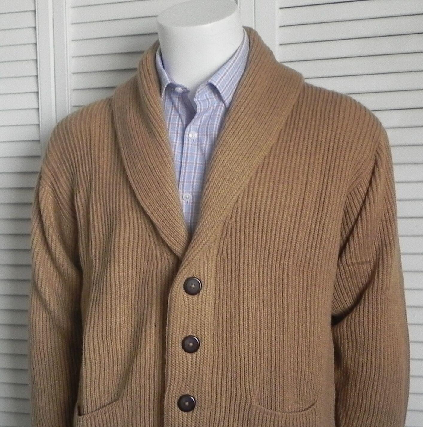 NEW Mens Größe 2XL XXL ALPACA Beige Ribbed Shawl Collar Cardigan Sweater