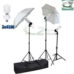 Photo White Umbrella Reflector Light Stand Studio Triple