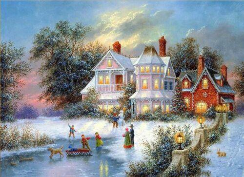 5D Full Square Diamond Painting Mosaic Handmade Winter Scenery Cross Stitch Embr