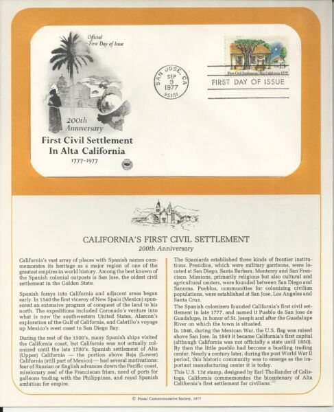 # 1725 FIRST CIVIL SETTLEMENT IN CALIFORNIA. 1977 First Day Cover