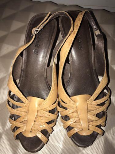 Sandalias 38 cuña de Eur marrón tiras oscuro tiras con 5 de Timberland y cuero Unido Reino de q5varq1