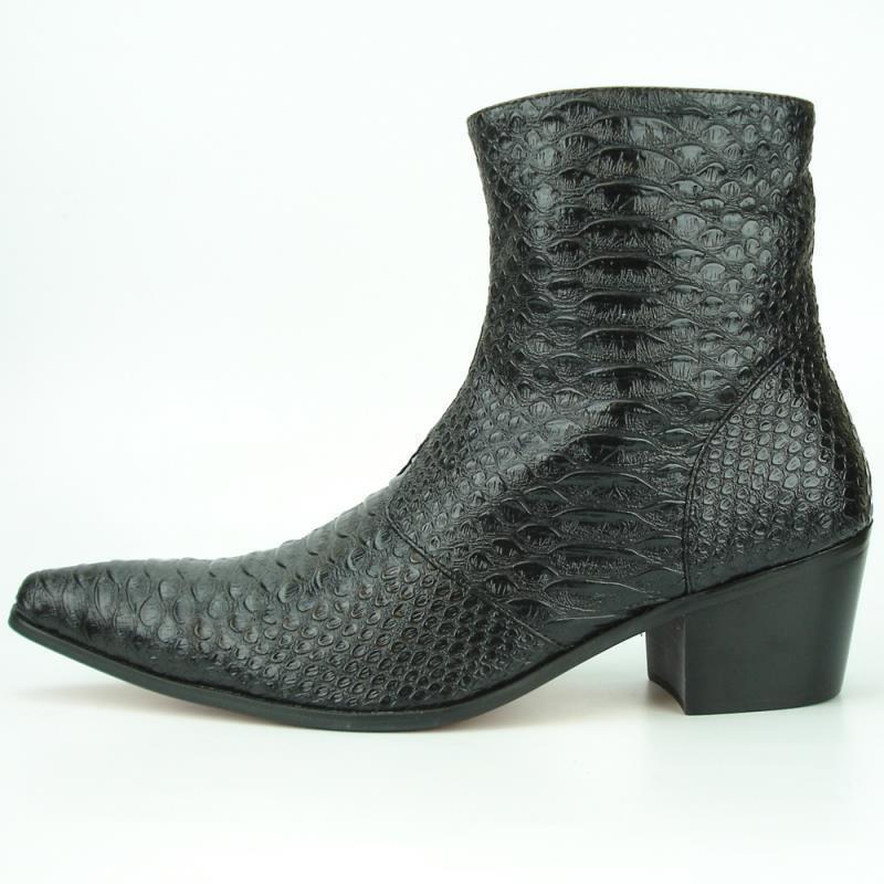 New Men's Fiesso Black Pointed Toe Snake Print Cowboy Boots w/ Zipper FI 7240