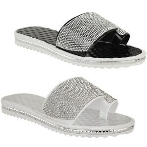 Ladies-Women-Summer-Beach-Gem-Diamante-Sliders-FlipFlop-Sandals-Jelly-Shoes-Size