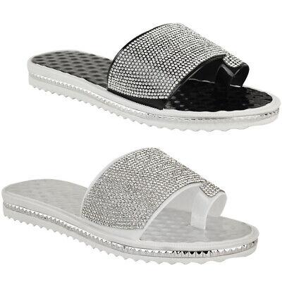3e2351f58 Ladies Women Summer Beach Gem Diamante Sliders FlipFlop Sandals Jelly Shoes  Size
