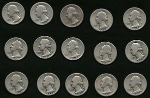 Lot-of-15-1942-Silver-Washington-US-Quarter-Coins-FREE-Delivery