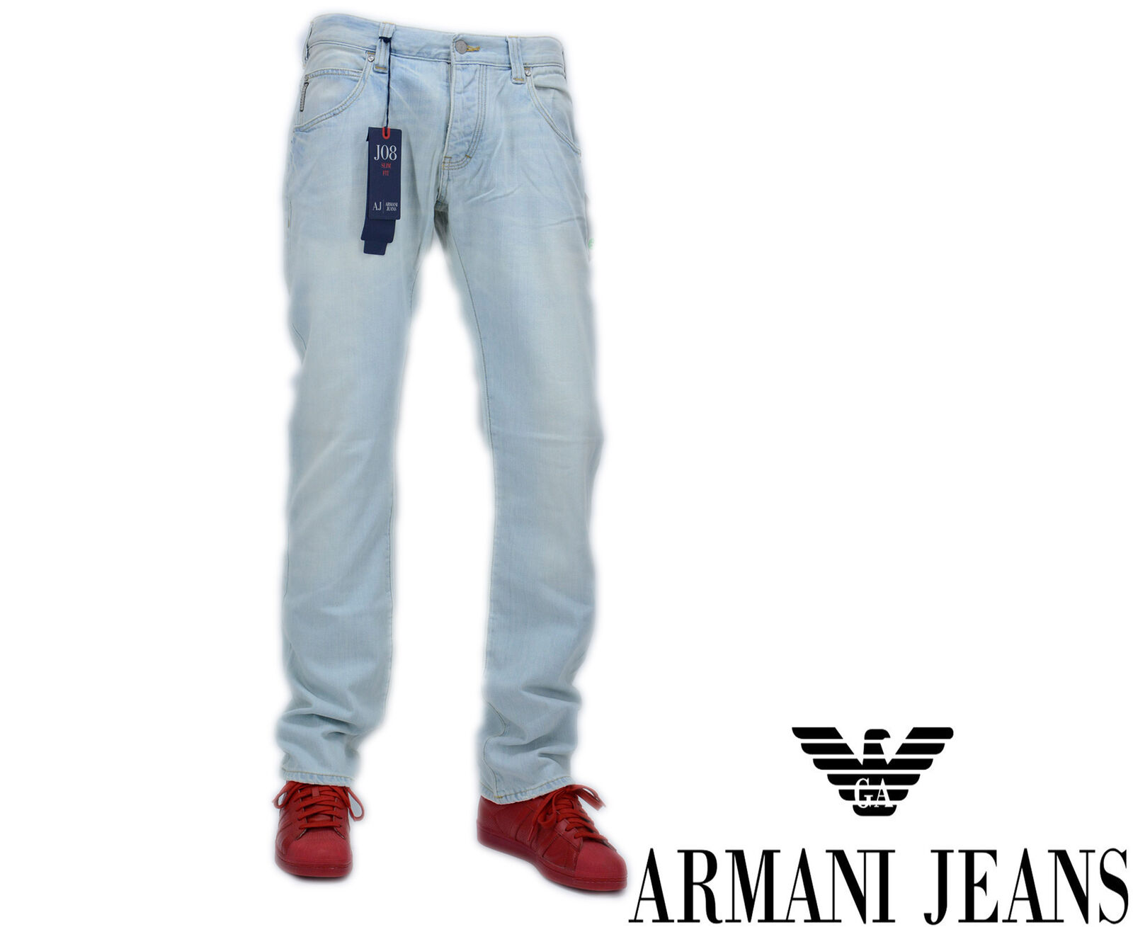 ARMANI Jeans J08 W33 L34 Jeans Denim Uomo Regular Slim Fit Straight Leg