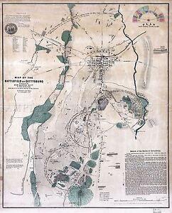 MAP-ANTIQUE-USA-CIVIL-WAR-BATTLEFIELD-GETTYSBURG-REPLICA-POSTER-PRINT-PAM1249