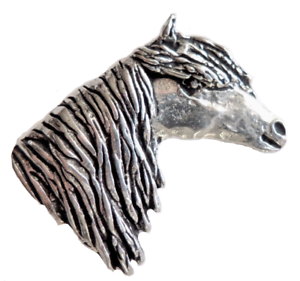Dartmoor Pony Pewter Pin Badge Hand Made in Cornwall