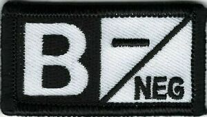 Noir Blanc Alerte Médicale Sang Type B- Negative Patch hook & loop tape