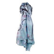 Ladies Large Green & Aqua Pink Circle Design Scarf/WrapPashmina/Shawl/Hijab