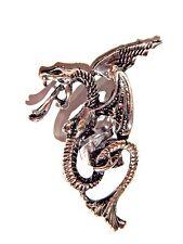 1 DARK SILVER DRAGON EAR CUFF pewter wyrm mythical medieval serpent earring 3W
