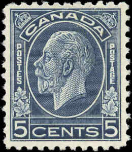 Mint-NH-Canada-1932-F-VF-Scott-199-5c-King-George-V-Medallion-Issue-Stamp