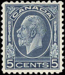 Mint NH Canada 1932 F-VF Scott #199 5c King George V Medallion Issue Stamp