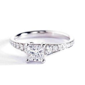 0-95-Ct-Vs2-F-Corte-Princesa-Moderno-Diamante-Pave-Anillo-de-Compromiso-Platino