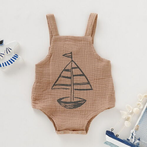 UK Newborn Infant Baby Girls Boy Linen Romper Summer Outfits Jumpsuit Bodysuit