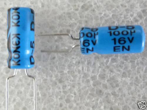 10 condensateurs chimique 100uF 16V Konek
