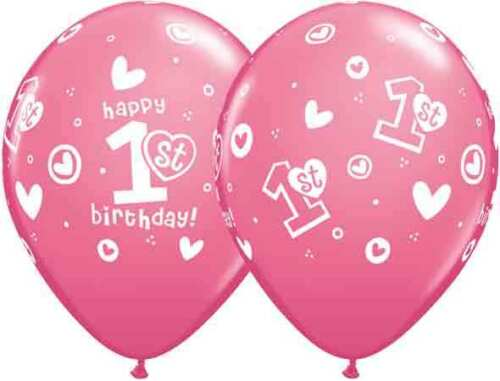 "5 or 10 from 99p Age 1st Pink Birthday Girl Qualatex 11/"" Latex Balloons x 1"