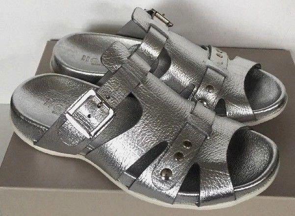 New Hogan Fussbett Ciabatta Fibbia Wedge Slip-On Sandals Dimensione 6 Avi argentoo
