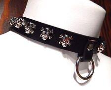BLACK SKULL STUDDED COLLAR choker vinyl faux leather punk biker necklace goth O5